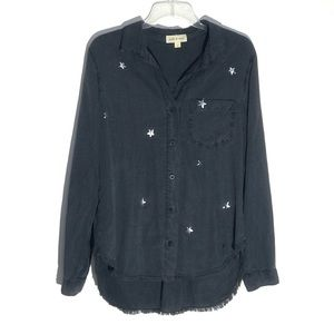Cloth & Stone Silver Stars Chambray Button Up M